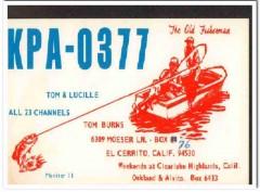 KPA-0377 Tom Burns El Cerrito CA 1960s Vintage Postcard CB QSL Card