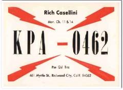 KPA-0462 Rich Casellini Redwood City CA 1960s Vintage Postcard CB QSL