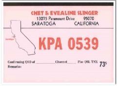 KPA-0539 Chet Slinger Saratoga CA 1960s Vintage Postcard CB QSL 1