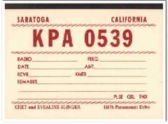 KPA-0539 Chet Slinger Saratoga CA 1960s Vintage Postcard CB QSL 3