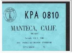 KPA-0810 Ray Strickland Manteca CA 1960s Vintage Postcard CB QSL 1