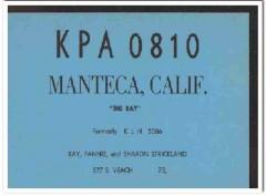 KPA-0810 Ray Strickland Manteca CA 1960s Vintage Postcard CB QSL 2