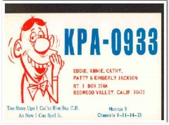 KPA-0933 Eddie Jackson Redwood Valley CA 1960s Vintage Postcard CB QSL