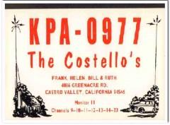 KPA-0977 Frank Costello Castro Valley CA 1960s Vintage Postcard CB QSL