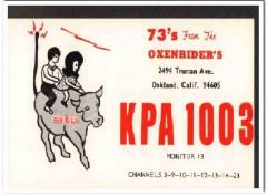 KPA-1003 Bill Oxenrider Oakland CA 1960s Vintage Postcard CB QSL
