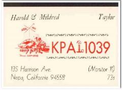 KPA-1039 Harold Taylor Napa CA 1960s Vintage Postcard CB QSL Card 1