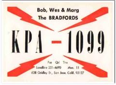 KPA-1099 Bob Bradford San Jose CA 1960s Vintage Postcard CB QSL