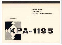 KPA-1195 Roger Baird Sanger CA 1960s Vintage Postcard CB QSL Card