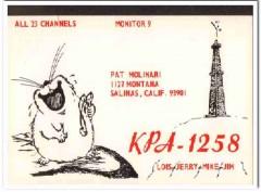 KPA-1258 Pat Molinari Salinas CA 1960s Vintage Postcard CB QSL Card