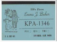 KPA-1346 Emma Baker San Pablo CA 1960s Vintage Postcard CB QSL Card