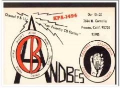 KPA-1494 Andy Andbes Fresno CA 1960s Vintage Postcard CB QSL Card