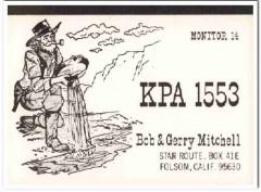 KPA-1553 Bob Mitchell Folsom CA 1960s Vintage Postcard CB QSL Card