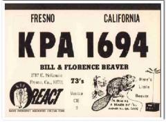 KPA-1694 Bill Beaver Fresno CA 1960s Vintage Postcard CB QSL Card 1