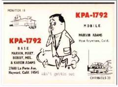 KPA-1792 Marvin Adams Hayward CA 1960s Vintage Postcard CB QSL Card
