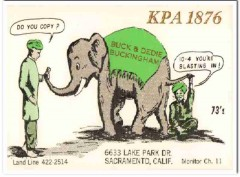 KPA-1876 Buck Buckingham Sacramento CA 1960s Vintage Postcard CB QSL