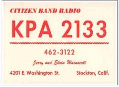 KPA-2133 Elvin Wainscott Stockton CA 1960s Vintage Postcard CB QSL 2