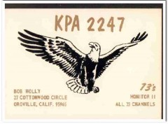 KPA-2247 Bob Holly Oroville CA 1960s Vintage Postcard CB QSL Card 1