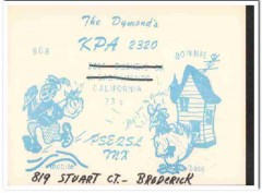 KPA-2320 Bob Dymond Broderick CA 1960s Vintage Postcard CB QSL Card