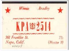KPA-2514 Winnie Bradley Napa CA 1960s Vintage Postcard CB QSL Card 1