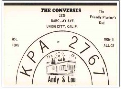 KPA-2767 Andy Converse Union City CA 1960s Vintage Postcard CB QSL