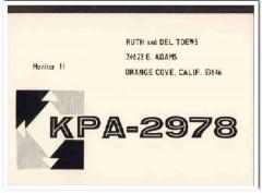KPA-2978 Del Toews Orange Cove CA 1960s Vintage Postcard CB QSL