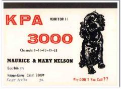 KPA-3000 Maurice Nelson Fort Jones CA 1960s Vintage Postcard CB QSL