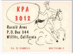 KPA-3012 Ronald Arms Willits CA 1960s Vintage Postcard CB QSL Card