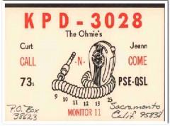KPD-3028 Curt Ohmie Sacramento CA 1960s Vintage Postcard CB QSL 1