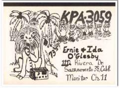 KPA-3059 Ernie Oglesby Sacramento CA 1960s Vintage Postcard CB QSL