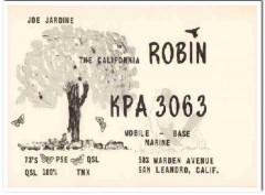 KPA-3063 Joe Jardine San Leandro CA 1960s Vintage Postcard CB QSL
