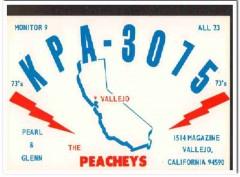 KPA-3075 Glenn Peachey Vallejo CA 1960s Vintage Postcard CB QSL