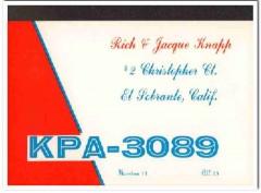 KPA-3089 Rich Knapp El Sobrante CA 1960s Vintage Postcard CB QSL