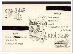 KPA-3449 Gene Hampton Fairfield CA 1960s Vintage Postcard CB QSL