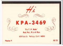 KPA-3469 Bud Watts Vellejo CA 1960s Vintage Postcard CB QSL Card