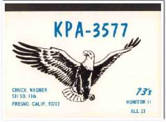 KPA-3577 Chuck Wagner Fresno CA 1960s Vintage Postcard CB QSL Card