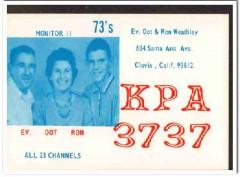 KPA-3737 Ev Weathley Clovis CA 1960s Vintage Postcard CB QSL Card
