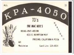KPA-4050 Doug Macneil Fresno CA 1960s Vintage Postcard CB QSL Card