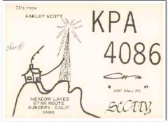 KPA-4086 Harley Scott Auberry CA 1960s Vintage Postcard CB QSL Card