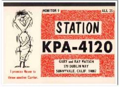 KPA-4120 Gary Watson Sunnyvale CA 1960s Vintage Postcard CB QSL