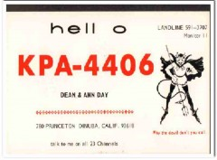KPA-4406 Dean Day Dinuba CA 1960s Vintage Postcard CB QSL Card