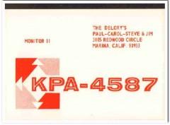 KPA-4587 Paul Delory Marina CA 1960s Vintage Postcard CB QSL Card