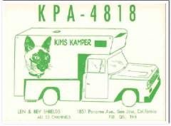 KPA-4818 Len Shields San Jose CA 1960s Vintage Postcard CB QSL Card