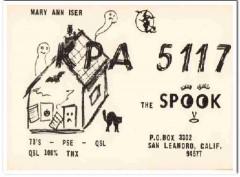 KPA-5117 Mary Ann Iser San Leandro CA 1960s Vintage Postcard CB QSL
