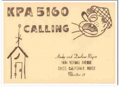 KPA-5160 Andy Raper Chico CA 1960s Vintage Postcard CB QSL Card