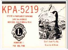 KPA-5219 Steve Simmons Merced CA 1960s Vintage Postcard CB QSL Card