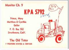 KPA-5792 Prince Geller Strathmore CA 1960s Vintage Postcard CB QSL