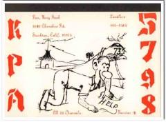 KPA-5798 Don Hoak Stockton CA 1960s Vintage Postcard CB QSL Card