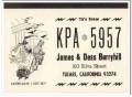 KPA-5957 James Berryhill Tulare CA 1960s Vintage Postcard CB QSL 1