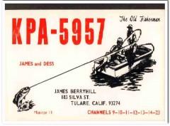 KPA-5957 James Berryhill Tulare CA 1960s Vintage Postcard CB QSL 2