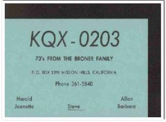 KQX-0203 Steve Broner Mission Hills CA 1960s Vintage Postcard CB QSL